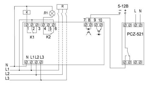 Схема подключения трёхфазного ограничителя мощности